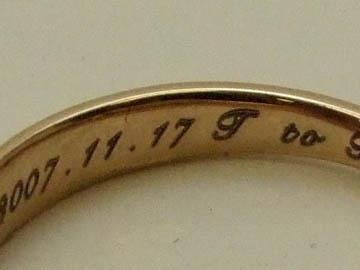 結婚指輪内側への文字彫刻