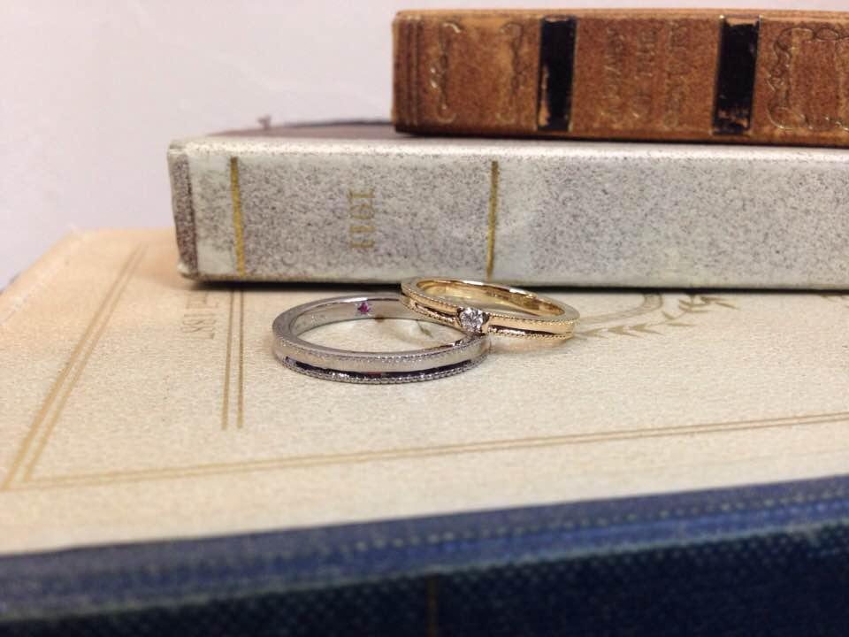 ゴールドの結婚指輪ミルグレイン | 結婚指輪手作り作品