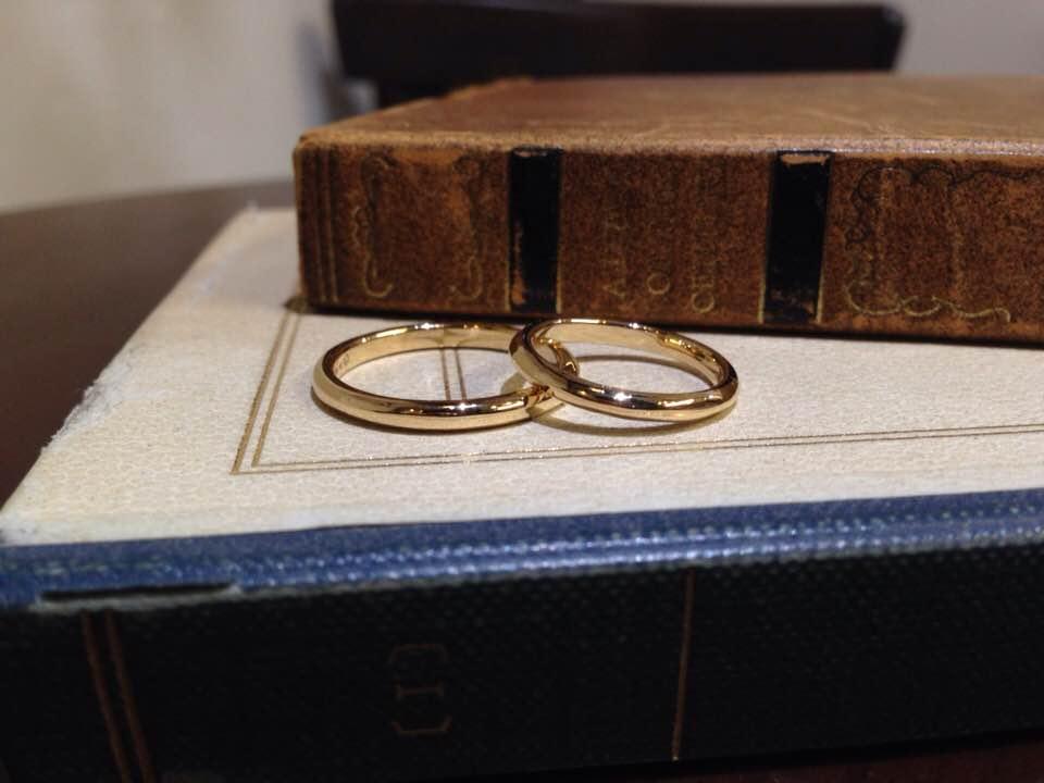 甲丸イエローゴールド結婚指輪 | 結婚指輪手作り作品