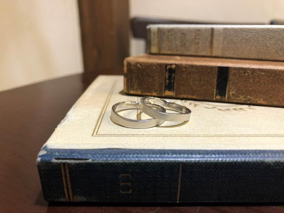 結婚指輪手作り作品 「上品な平打ちウェーブの結婚指輪」