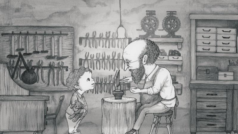 おじいちゃんの仕事に興味を持つ孫