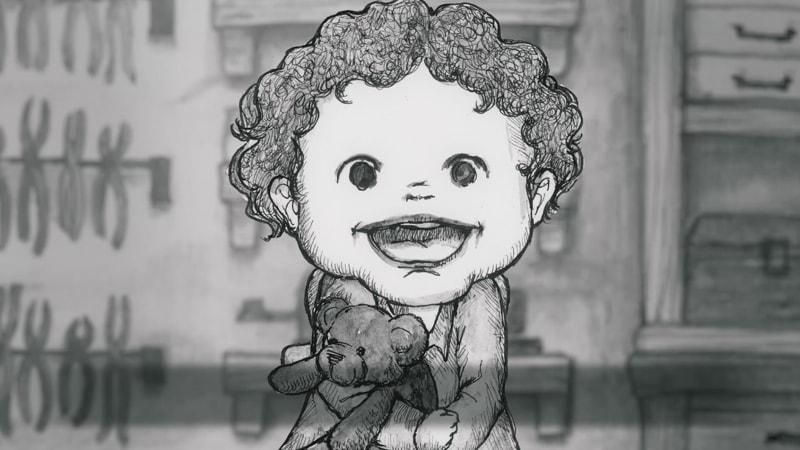 嬉しそうな孫の笑顔