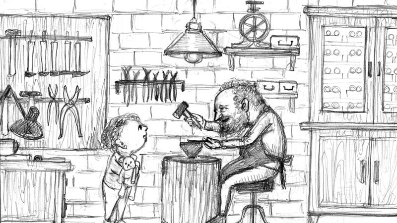 (ラフ)おじいちゃんの仕事に興味を持つ孫