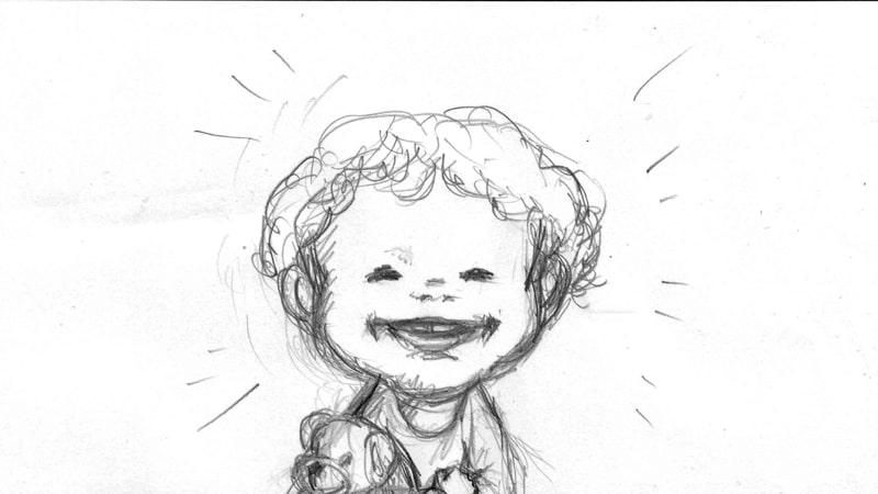(ラフ)嬉しそうな孫の笑顔
